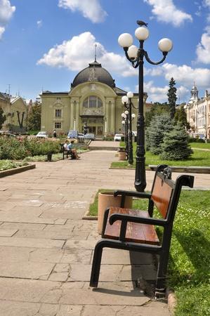 chernivtsi: Park in Chernivtsi Ukraine in front of theather building Stock Photo