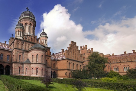 Landmark in Chernivtsi, Ukraine, orthodox church at University (the former Metropolitans residence) Stock Photo