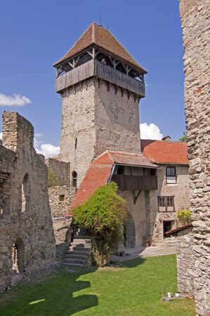 Tower at Calnic medieval fortress in Transylvania Romania, UNESCO heritage site