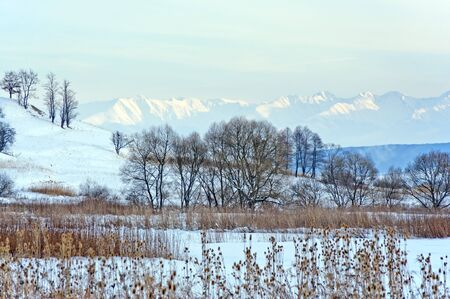 Winter landscape with snow and mountain ridge in background in Transylvania Romania