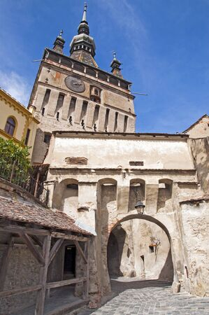 Sighisoara bell clock tower - famous landmark in Transylvania Romania