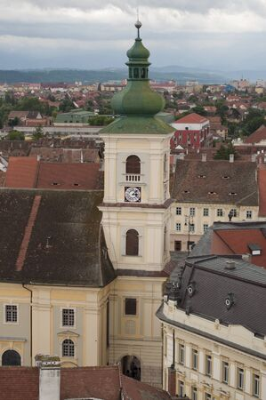 Catholic baroque church (built in 18th century) in old town Sibiu Stock Photo