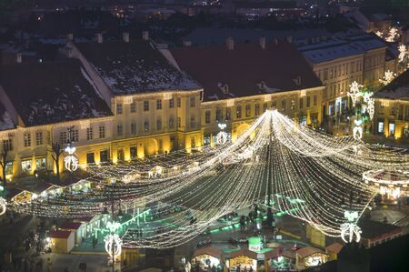 Christmas market in main town of old town Sibiu