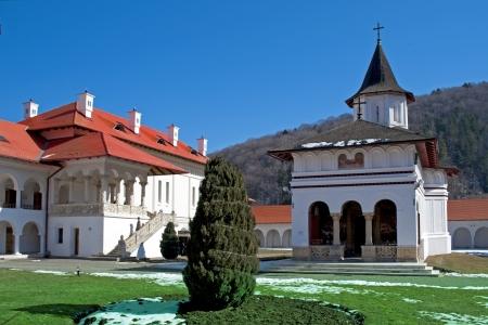 buit in: Christian orthodox monastery Sambata buit in XVIth century in Transylvania Romania Stock Photo