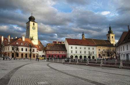 Tower Turnul Sfatului landmark of Sibiu town in Transylvania Romania Stock Photo