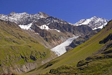 Austrian alps in Kaunertal area in Tirol, Gepatschferner glacier in background in Oetztaler alpen