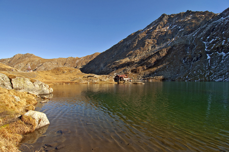Balea lac lake in Carpathians, Fagaras Mountains photo