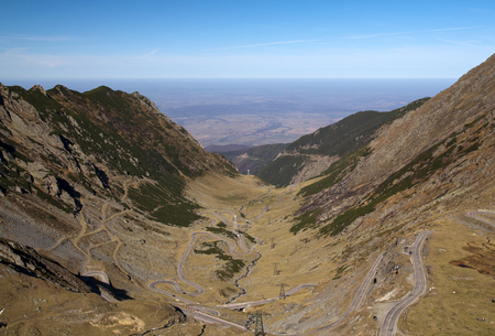 balea: Transfagaras mountain road on Balea Valley in Transylvania, Romania Stock Photo