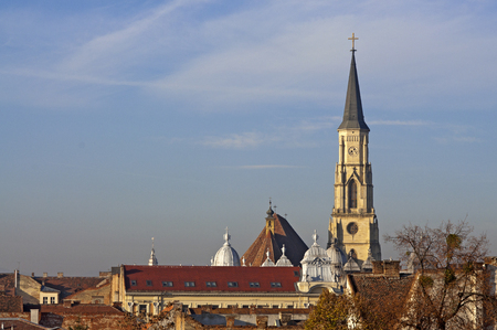 cluj: Cluj-Napoca, Cluj county in Transylvania, Romania, cityscape with St. Michaels Churchs Tower
