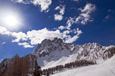 rote: Val di Pusteria   Pustertal - Croda Rossa   Rote Wand in Dolomites Mountains Italy Stock Photo