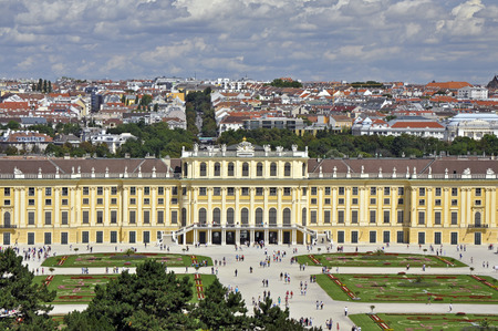entranceway: Schonbrunn palace in Vienna on beautiful summer day Editorial