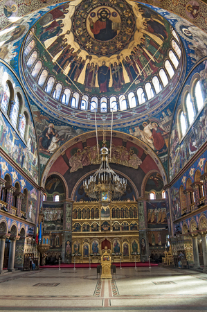 Interior of orthodox church in Sibiu - Holy Trinity Cathedral Editorial