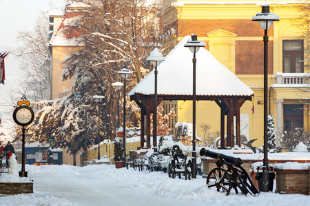 Sibiu, Romania, street in winter with snow in old town
