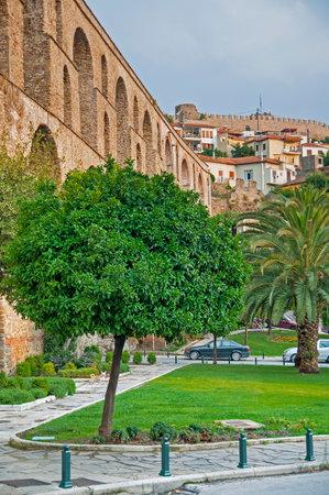 aqueduct: Kavala, Greece aqueduct and castle Editorial