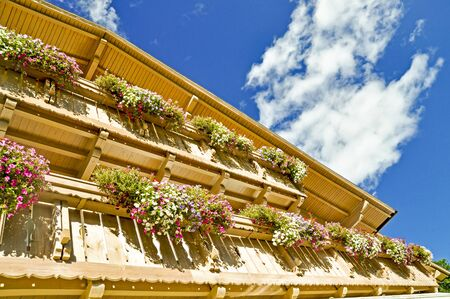 alp: Balcony flowers on a traditional alpine house in Alps mountains