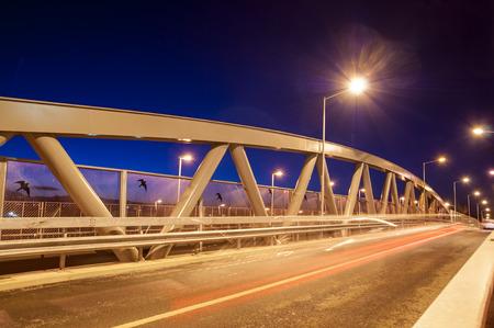 metal structure: Metal bridge structure at dusk