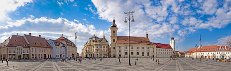 Panorama of Sibiu, Transylvania, Romania, main town square on sunny day