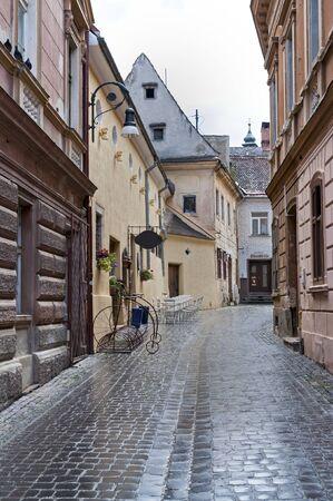 brasov: Street in old town Brasov, Transylvania, Romania