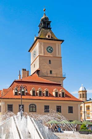 brasov: Main square (Piata Sfatului) with old town hall in Brasov, Transylvania, Romania