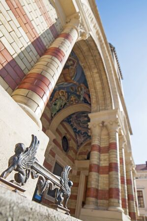 build in: Detail of orthodox cathedral in Sibiu, Transylvania, Romania, build in early 20th century Stock Photo
