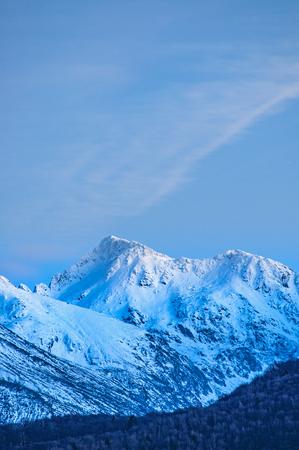 Dusk winter on mountain ridge (Carpathians, Negoiu peak, second highest in Romania 2535 meters)