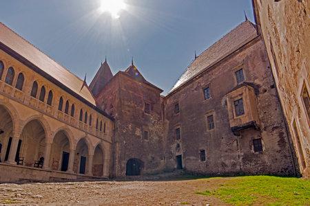 xv century: Inner yard of Corvin or Hunyadi or Hunedoara Castle, Transylvania, Romania, Renaissance-Gothic style from XV century