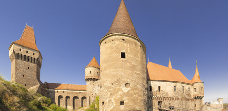 xv century: Corvin or Hunyadi or Hunedoara Castle, Transylvania, Romania, Renaissance-Gothic style from XV century, back view