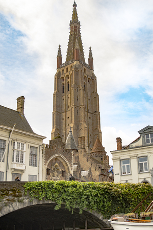 Church tower in Brugge, Belgium