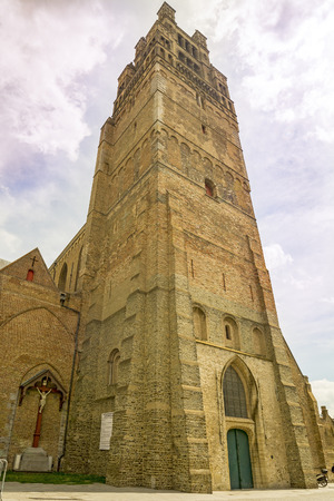 St. Salvators Cathedral tower in Brugge, Belgium Stock Photo