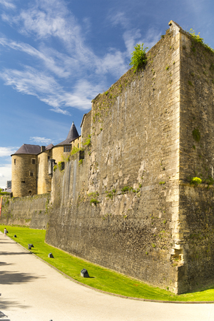 Sedan castle in France, grand fortress of medieval European stock Stock Photo