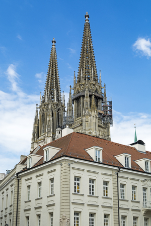 Gothic cathedral towers in Regensburg, Bavaria, Germany