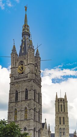 Belfry and gothic cathedral Saint Bavo in Gent of Belgium Editorial