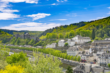 Panorama of Bouillon (Bouyon) village and medieval castle in Belgium, province Luxembourg and river Semois Editorial