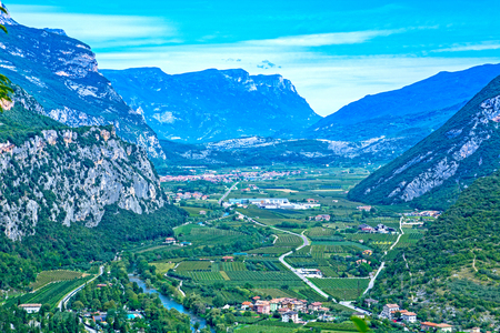 Trentino summer landscape, Adige valley seen from Arco, Italy