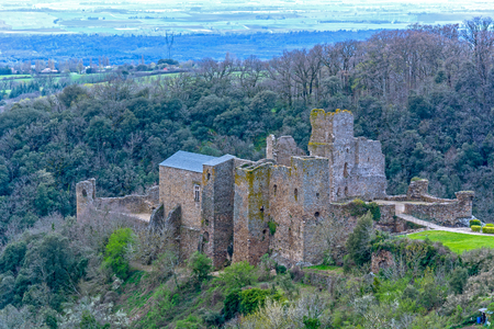 Ruin of Saissac castle in France one of the cathar castles