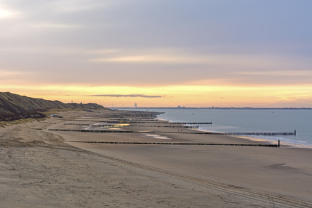 North Sea in the Netherlands at Zoutelande early morning view