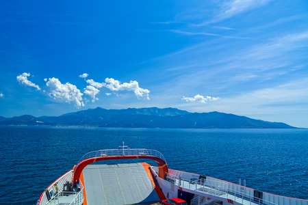 Thassos island in Grece, Aegean Sea, seen from the ferry