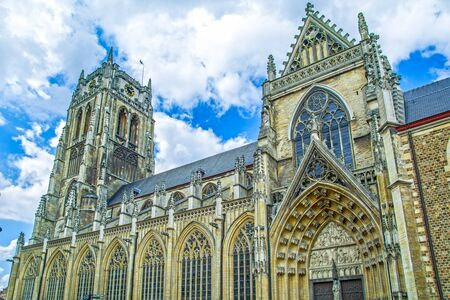 Tongeren, Limburg, Belgium, tower of gothic church Basilica of Our Lady built in 13th-14th century