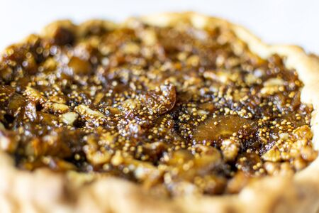 Walnut and fig tart dessert pie, texture view Banco de Imagens