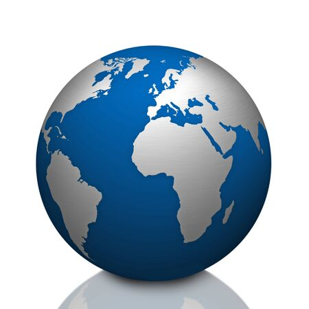 world globe map with stainless steel symbol