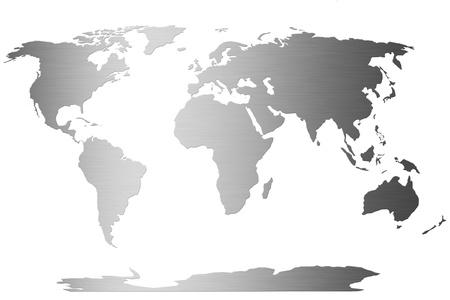 longitude: world globe map with stainless steel symbol