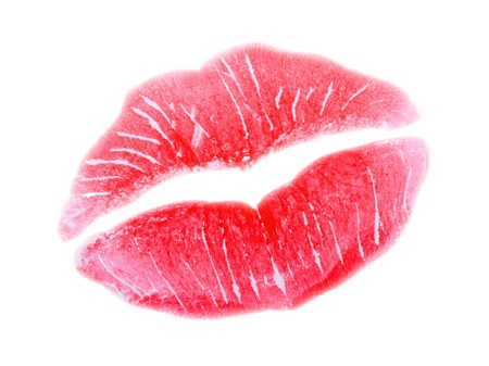 Woman Kiss Lips with Smile Isolated on White