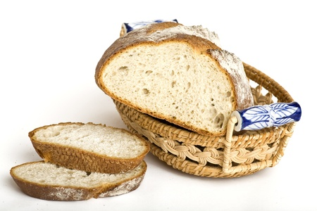 Fresh Bread Cutted Isolated on White Background