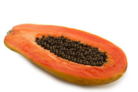 Tropical Papaya Fruit Isolated on White Background Stock Photo