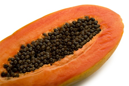 black seeds: Tropical Papaya Fruit Isolated on White Background Stock Photo