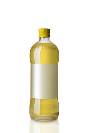 Bottle with Sunflower Oil Isolated on White