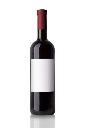 Red Wine Bottle Isolated on White Background Stock Photo