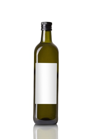 Bottle with Olive Oil Isolated on White Background photo