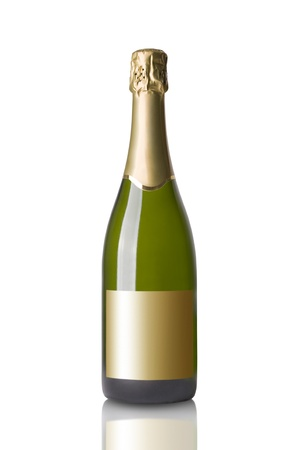 Bottle of Champange Isolated on White Background