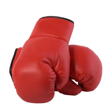 knock out: Red Pair of Boxing Gloves Winning Symbol Isolated